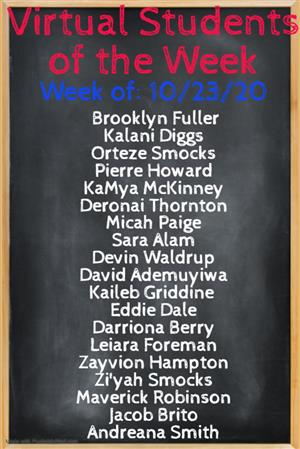 VIRTUAL STUDENTS OF THE WEEK 10/23